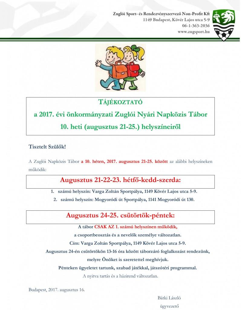 Táborihelyszínek10.hetitájékoztató2017
